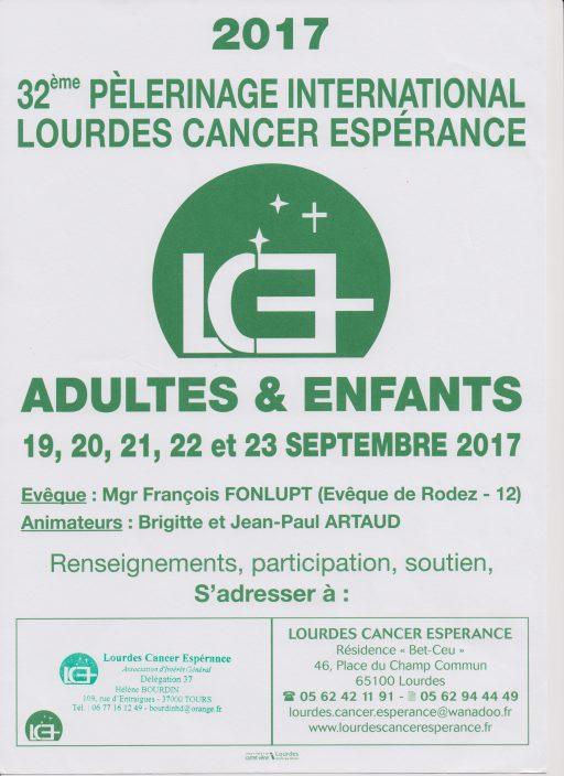 32ème pèlerinage international Lourdes Cancer Espérance